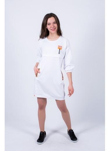 Clıche  Bağcık Detaylı Elbise Beyaz